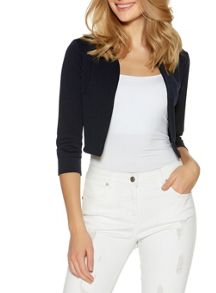 Quiz Navy Cropped 3/4 Sleeve Jacket