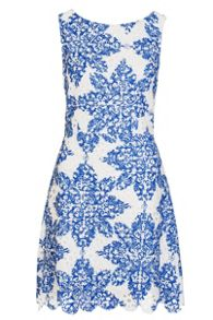 Quiz White And Blue Crochet Paisley Print Skater Dress