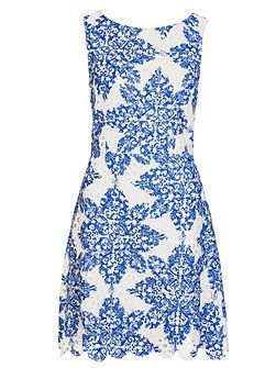 White And Blue Crochet Paisley Print Skater Dress
