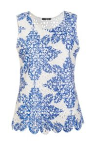 Quiz White And Blue Crochet Paisley Print Top