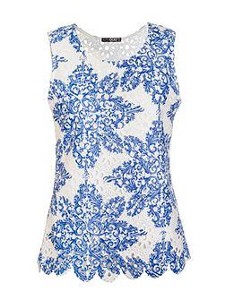 White And Blue Crochet Paisley Print Top