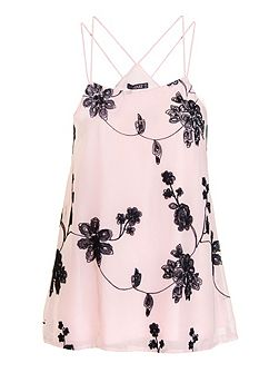 Pink And Black Chiffon Floral Embroidered Swing T