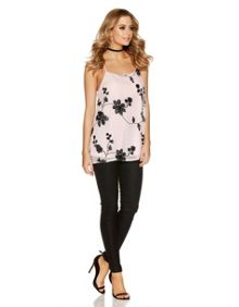 Quiz Pink And Black Chiffon Floral Embroidered Swing T