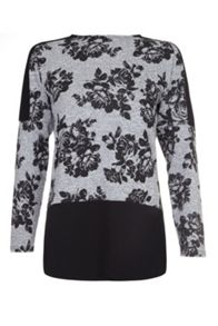 Quiz Contrast Flower Print Knitted Top