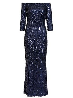 Navy Sequin Bardot Fishtail Maxi Dress