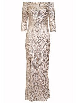 Champagne Fishtail Maxi Dress