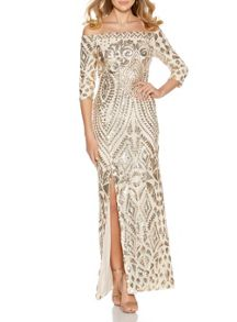 Quiz Champagne Fishtail Maxi Dress