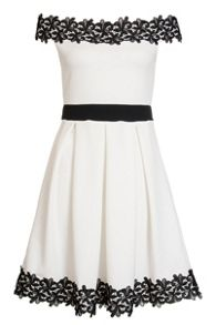 Quiz Cream Bardot Lace Trim Skater Dress