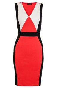 Quiz Orange And Black Panel Midi Dress
