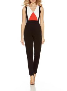 Quiz Orange And Black Panel Jumpsuit