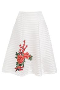 Quiz White And Red Embroidered Midi Skirt