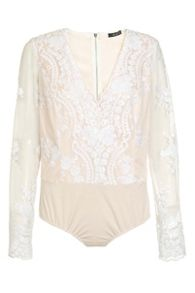 Quiz White And Nude Mesh Sequin Bodysuit
