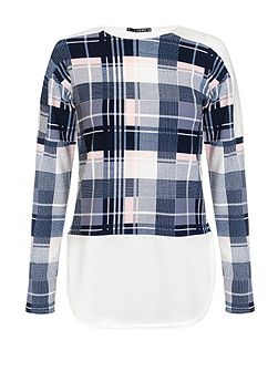 Navy Cream And Pink Check Top