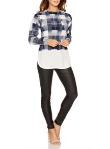 Quiz Navy Cream And Pink Check Top