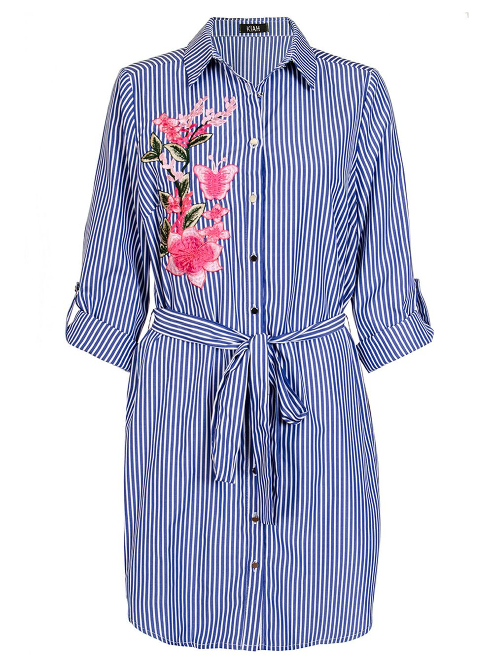 Quiz Quiz Navy And Pink Embroidered Shirt, Blue