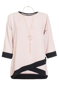 Quiz Pink And Black Contrast 3/4 Sleeve Necklace Top