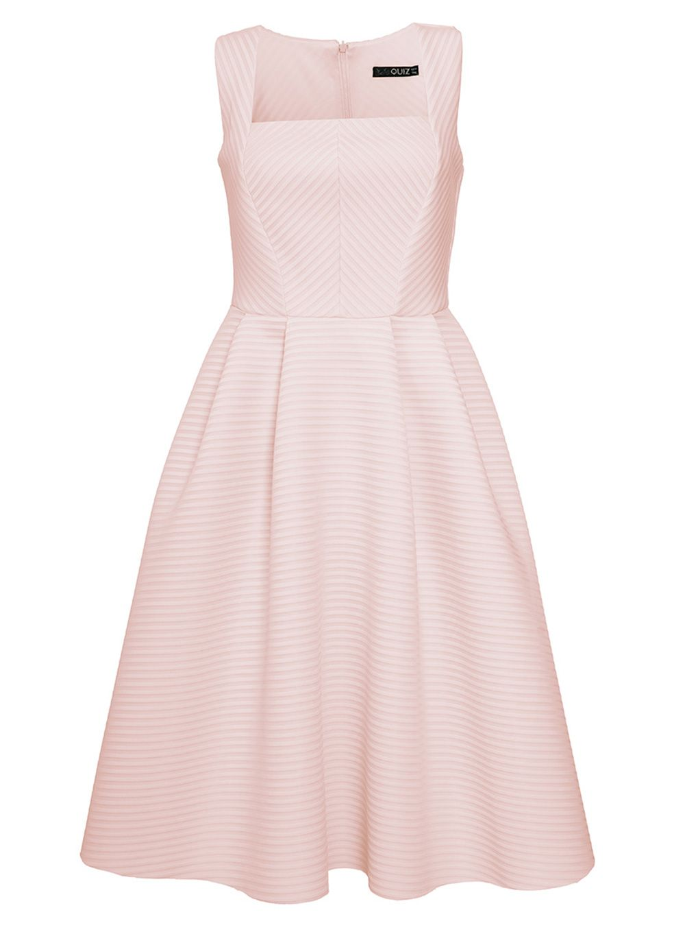 Quiz Nude Stripe Textured Midi Dress, Pink