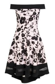 Quiz Pink And Black Floral Print Bardot Dress