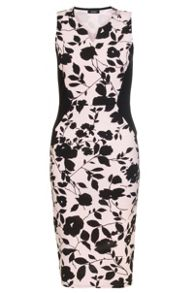 Quiz Pink And Black Flower Bodycon Dress
