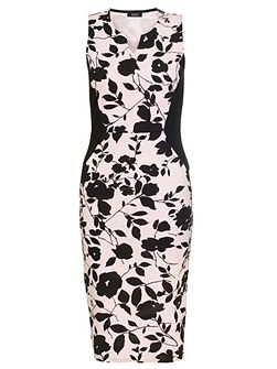Pink And Black Flower Bodycon Dress