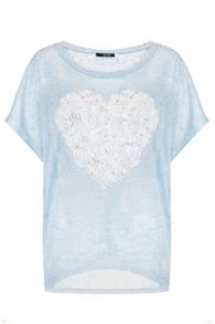 Quiz Blue And Cream Heart Batwing Top