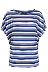 Quiz Navy And Cream Stripe Batwing Top