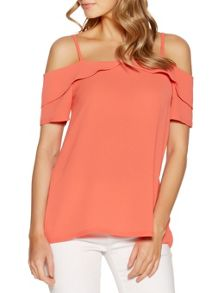 Quiz Coral Cold Shoulder Swing Top