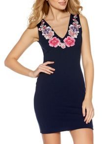 Quiz Navy Embroidered Flower Dress