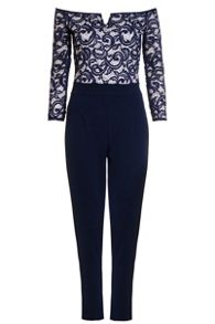 Quiz Navy And Cream Lace Bardot Jumpsuit