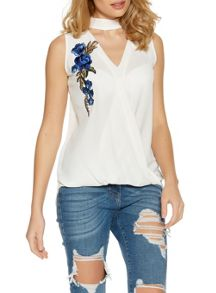 Quiz Cream And Blue Embroidered Top