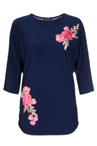Quiz Navy And Pink Batwing Top