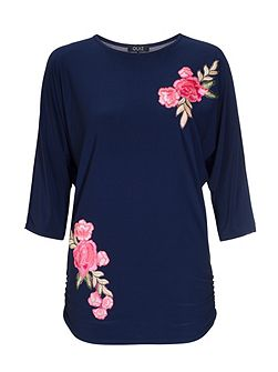 Navy And Pink Batwing Top
