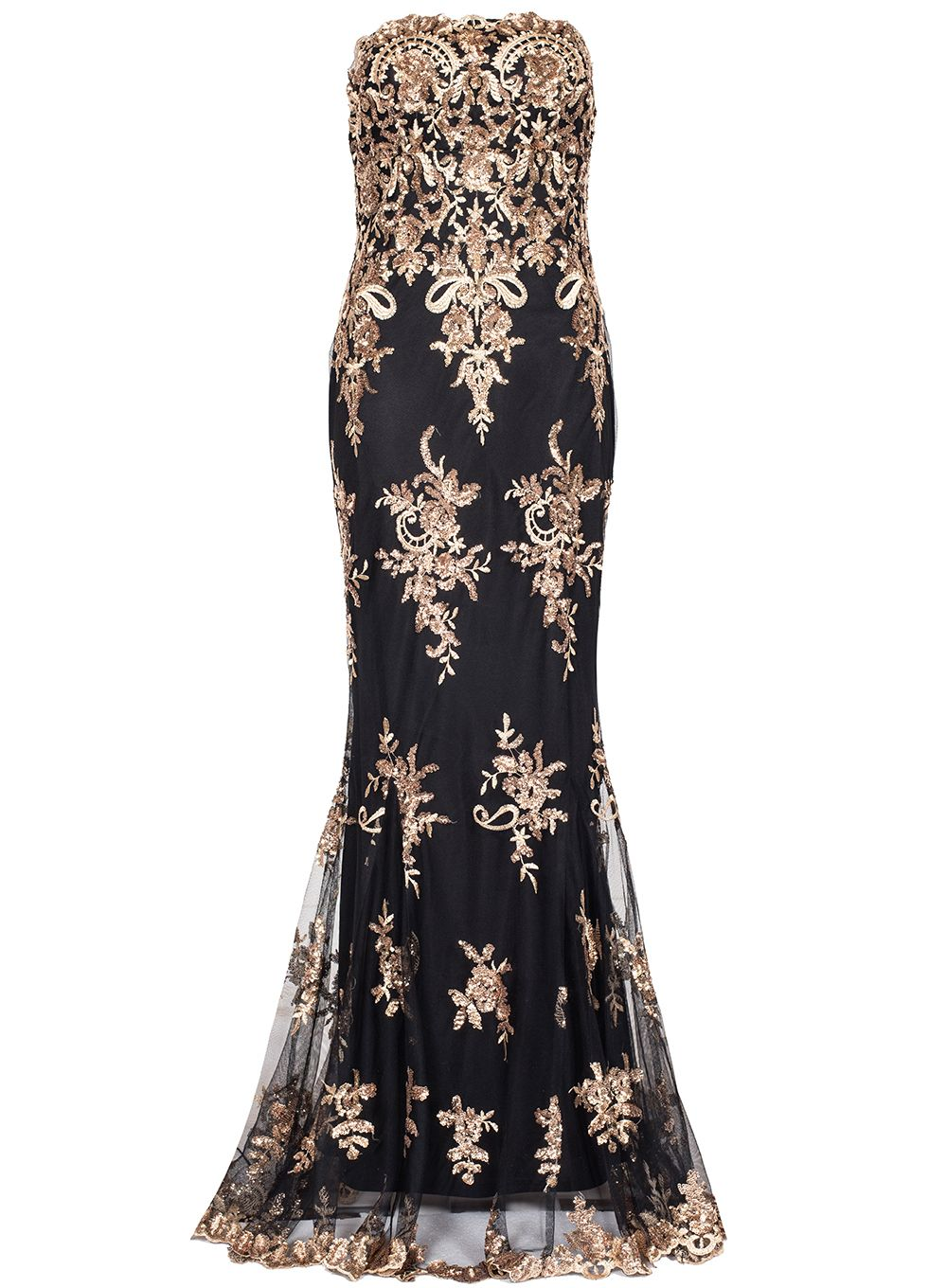 Quiz Black And Gold Sequin Maxi Dress, Black