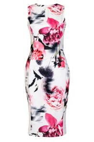 Quiz Cream And Pink Keyhole Bodycon Dress