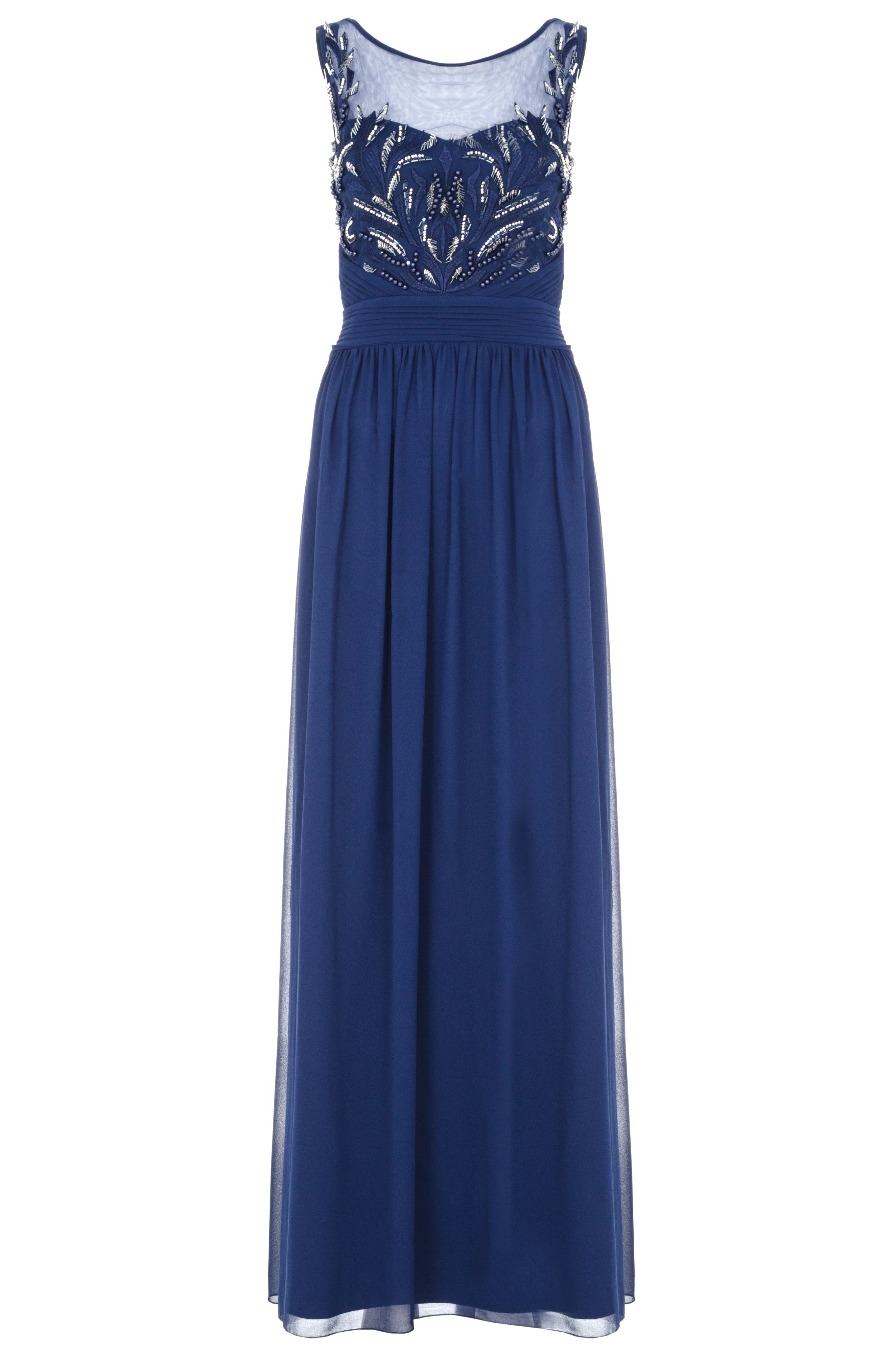 Quiz Navy Chiffon Embroidered Maxi Dress, Blue