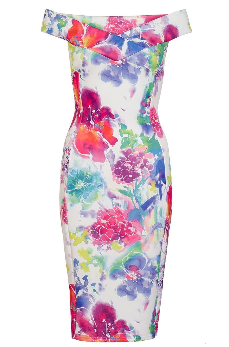 Quiz White And Pink Flower Print Bardot Midi Dress, White