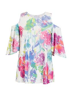 White And Pink Flower Print Cold Shoulder Top