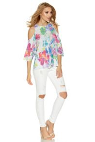 Quiz White And Pink Flower Print Cold Shoulder Top