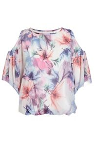 Quiz Blue And Pink Floral Print Batwing Sleeve Bubble