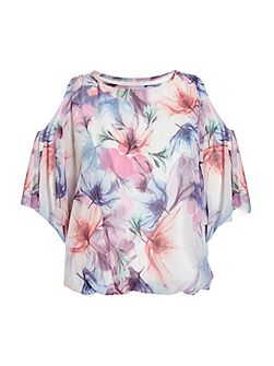 Blue And Pink Floral Print Batwing Sleeve Bubble