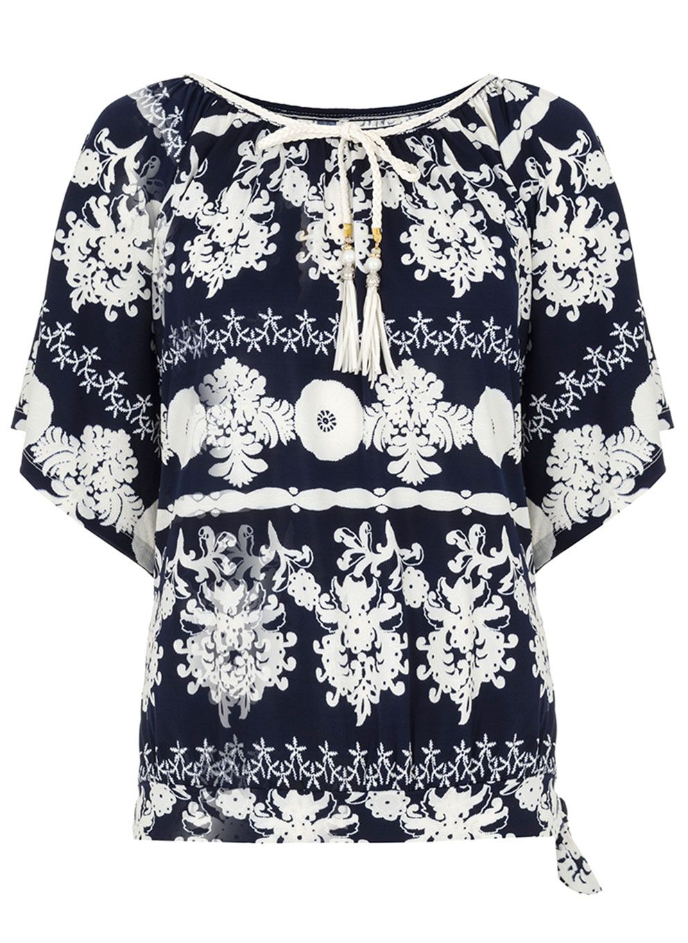 Quiz Navy And Cream Printed Tie Neck Top Navy