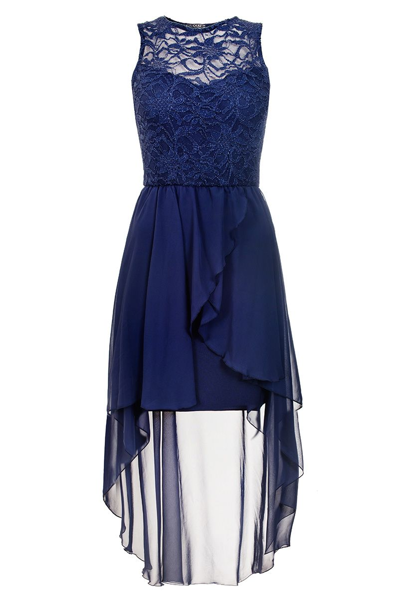 Quiz Navy Lace Dip Hem Dress, Blue