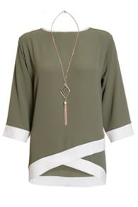 Quiz Khaki And Cream Contrast 3/4 Sleeve Necklace Top