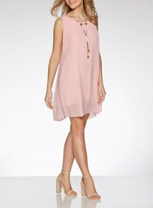 Quiz Pink Chiffon Tunic Dress