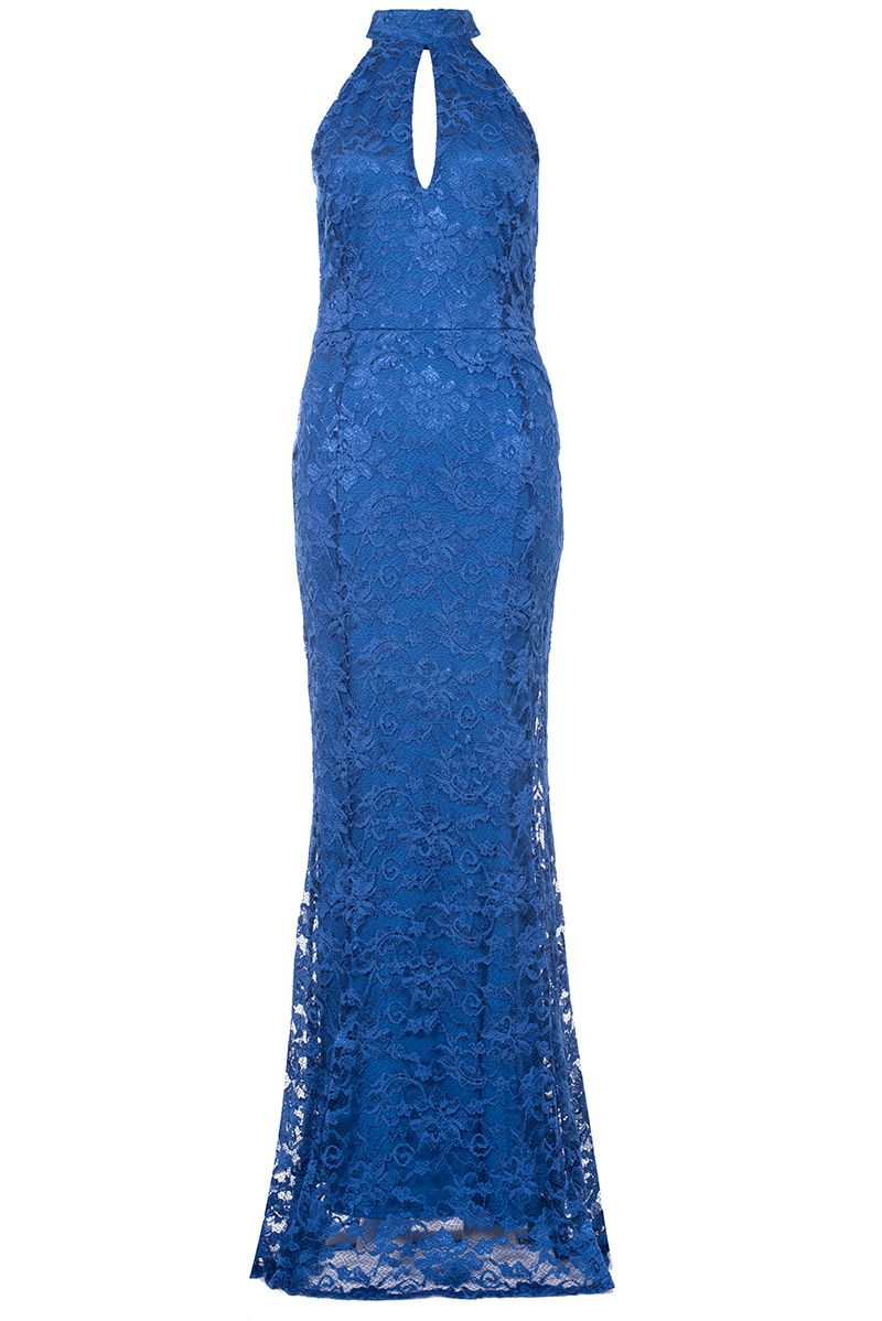 Quiz Royal Blue Lace Fishtail Maxi Dress, Royal Blue