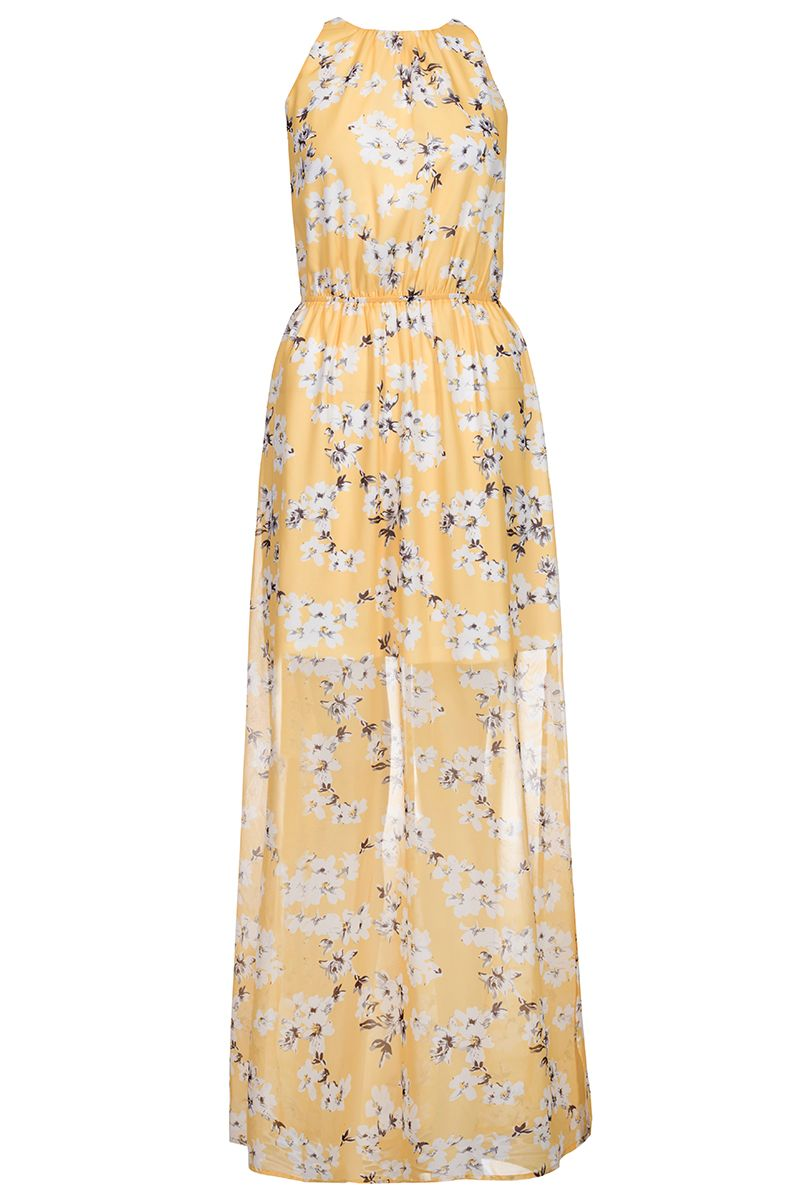Quiz Yellow And White Floral Maxi Dress Yellow