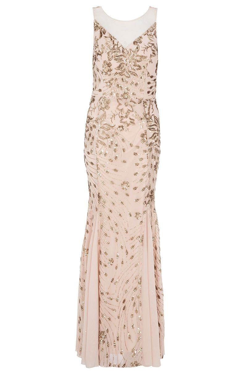 Quiz Sequin Fishtail Maxi Dress, Gold
