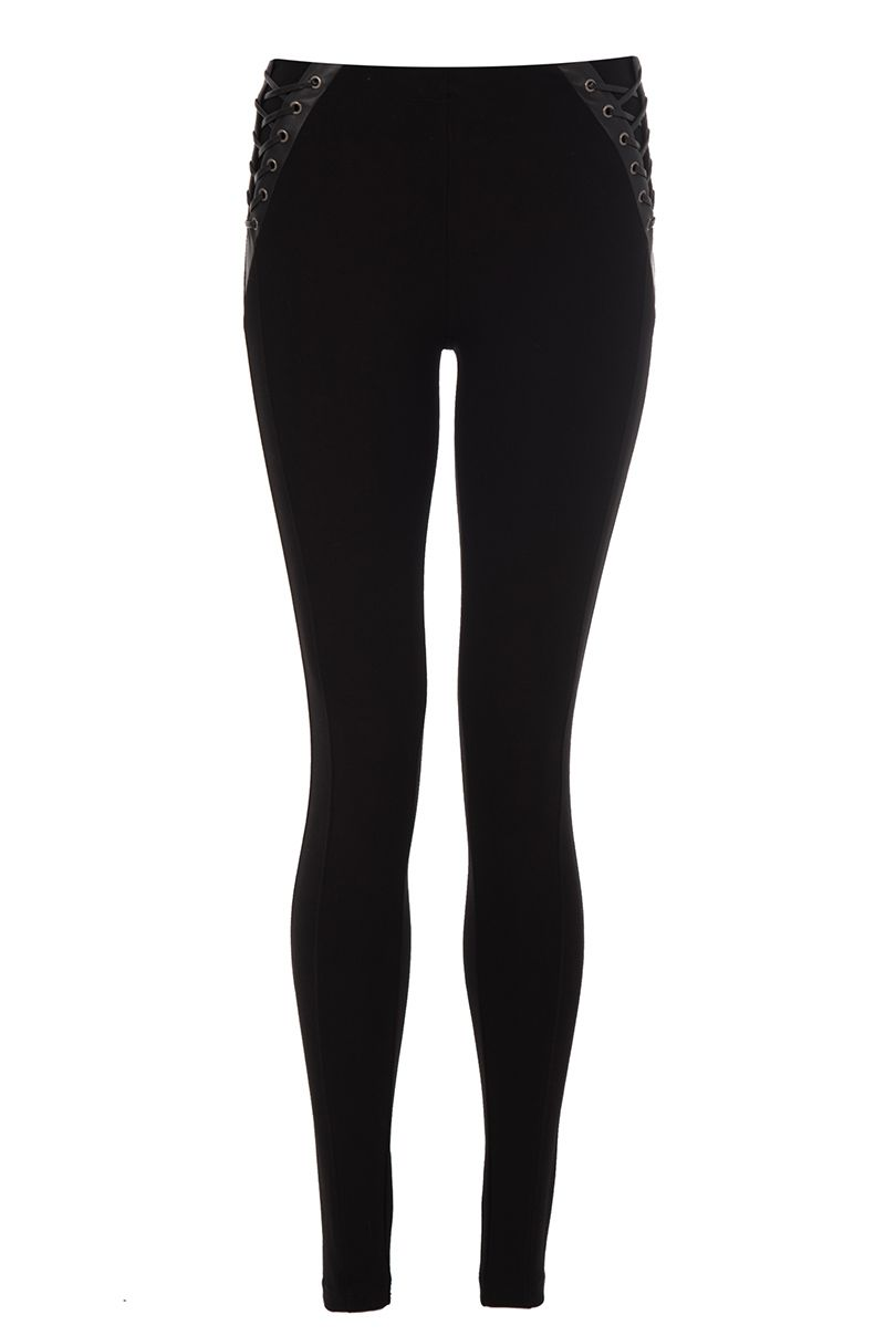 Quiz Black Lace Up Leggings, Black
