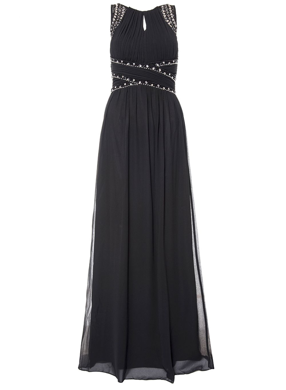 Quiz Black Chiffon Embellished Maxi Dress, Black