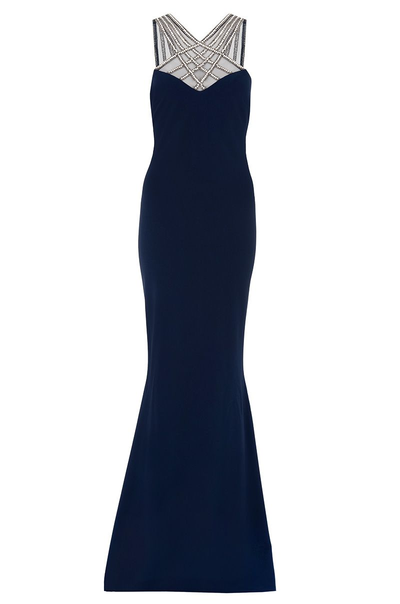 Quiz Embellished Split Back Maxi Dress, Blue